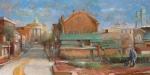 "Corner-of-Washington, Bath, Maine<br>31"" x 62"" oil on mounted linen"
