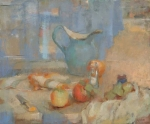 "Still Life with Blue Pitcher and Shaker<br>20"" x 24"" oil on linen"