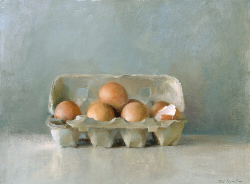 """Eggs in Carton 12"""" x 16"""" oil on mounted muslin 1996 SOLD"""