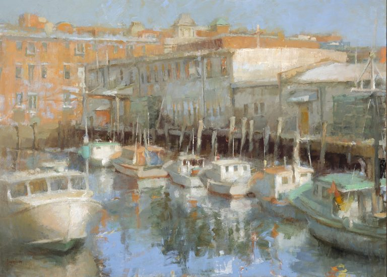 """""""Moorings"""" Travels: Ingraham Painting on view at the Senate Democratic Office in Augusta, Maine"""